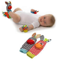 4pcs set Infant Baby Kids Hand Wrist Bell Foot Sock Rattles Soft Animal Toy vfg