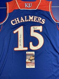 Mario Chalmers Signed Jersey Kansas Jayhawks JSA COA Witness Inscribed Adult L