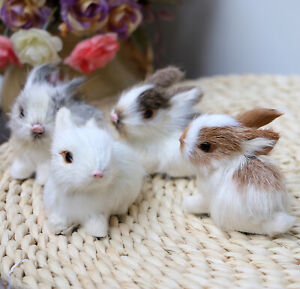 Set of 4 Mini Realistic Rabbits Fur Easter Bunnies Spring Decor Photograph Prop