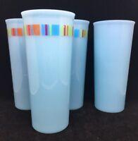 Set of 4 Tupperware #5107 Blue 16oz Tall Tumblers Vintage colorful stripes