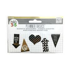 Happy Planner Magnetic Bookmarks Journal Tabs Black Gold Metallic Foil