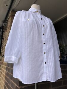 REISS UK 12 Stunning White Blouse Top w/ Gold Buttons. Cotton Blend. Gathered
