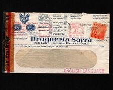 Opc 1943 Quba Drogueria Sarra Illustrated Env Slogan Meter Censor Perfin Sa/Rra