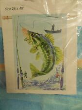 Wide mouth Bass, Largemouth, Lake, Fishing, Man in Boat, decorative House flag