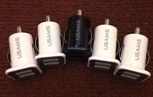 10x Universal Dual Port 2 USB 12V In Car Socket Lighter Charger Adapter SatNav