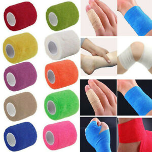 10 Rolls 10cm Cohesive Sports Self Adhesive Athletic Support Bandage Strap Tape
