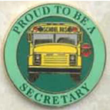 Exclusive, Proud To Be a School Bus Secretary Lapel / Hat Pin