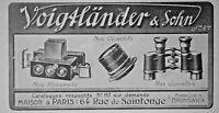 PUBLICITÉ PRESSE 1914 VOIGTLANDER & SOHN APPAREIL JUMELLE OBJECTIF - ADVERTISING