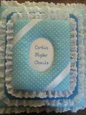 BABY BOY Blue / Gray Polka Dot Personalized Handmade Fabric Album Scrapbook