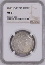 "1835C British India One Rupee ""Unlisted"" Type C/IV. Scarce. William. NGC MS61"
