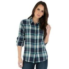Wrangler Women's Navy & White Plaid Button Up Western Shirt LW7224M  MSRP $42.95