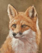 BEAUTIFUL FOX ORIGINAL CLASSICAL OIL PAINTING 10 x 8 inch by Artist JOHN SILVER