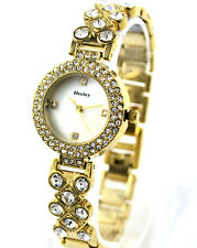 Henley Ladies Chic Gold Tone Dress Watch, Crystals & Natural Mother of Pearl