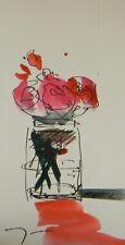 "JOSE TRUJILLO ORIGINAL Watercolor Painting SIGNED Small 3x6"" Pink Roses Jar Art"