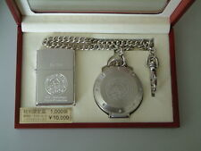 VERY RARE ZIPPO 10TH ANNIVERSARY WATCH PRODUCTION LIGHTER AND POCKET WATCH SET.