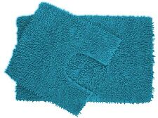 2 piece Teal Chenille Cotton Bath Mat and Pedestal Set with Anti Slip Back