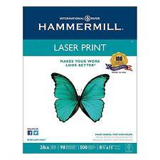 500 Sheets Hammermill Laser Print Paper Copy 8.5x11 Printer 28lb Letter 98Bright