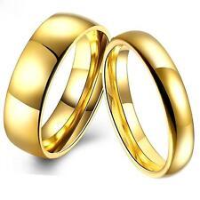 Verlobungsring Edelstahl 999er Gold 24 Karat vergoldet  Damen Herren R3045S
