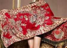 New Fashion Women's red Floral Warm 100% Pashmina Scarf Wrap Shawl Stole
