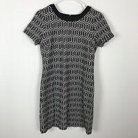 Banana Republic Women's Knit Black White Geometric Short Sleeve Dress, Size 8