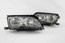 BMW 3 Series E46 01-05 Saloon Chrome LED White Angel Eyes Headlights Set Pair