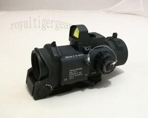 ELCAN SpectorDR style 4X Scope Red Dot Illuminated Sight w Red Dot - Black