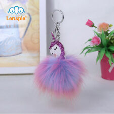 Unicorn Horse Keychain Handbag Key Ring PomPom Bag Charm Pendant Color Keyring
