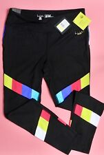 "65.00 Nicole Miller Fitness Yoga WorkOut Tights ""TV Bars"" Black LARGE ~ NEW"
