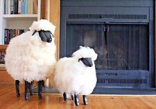 SMALL Size Life-size Sheep Fleece Footstool Footrest - Black Wood