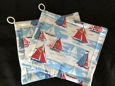 New listing Sailboats On Ocean Red White Blue Potholders (2) Handmade By Me! Cute!