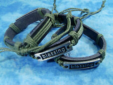 One Lot Of Three Handmade Hemp/Genuine Leather/Alloy blessing Bracelets