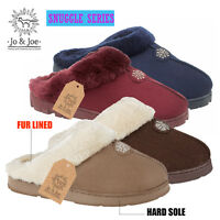 Ladies Womens Winter Warm Fur Lined Luxury Mules SLIPPERS shoes Size 3 4 5 6 7 8