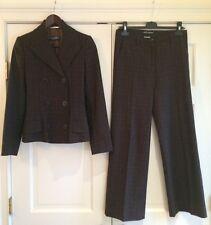 DOLCE & GABBANA Brown Plaid Wool Cashmere Wide Leg Pant Jacket Suit Sz 40 EUC