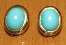 SECONDHAND 18ct YELLOW GOLD TURQUOISE OMEGA BACK EARRINGS FOR NON PIERCED EARS