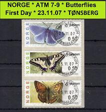 Norwegen ATM 7-9 / Butterfly / First Day / machine # 0RV... TØNSBERG / Frama
