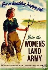 "Land Girls Land Army Healthy Happy Farming 1940 Poster Reprint World War 2 6x4"""