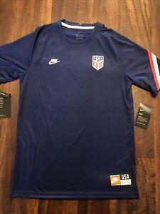 New Nike Team USA Mens Soccer Breathe Pre Match Jersey Size Medium Blue Red 2020