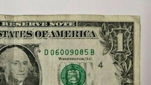 $1 Note Dollar Bill Fancy Serial Number Birthday D 06009085 B - June 9 1985