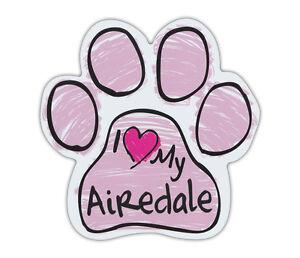 Pink Zeichnen Pfoten: I Love My Airedale Terrier Hund Pfote Form Auto Magnete