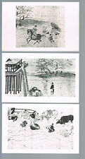 3 details from 12th Century Japanese Scroll - Kibi's Adventures in China
