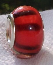 Red Brown Striped Pattern Murano Glass Bead for Silver European Charm Bracelets