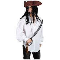 Adult Mens White Pirate Ruffle Shirt Top Fancy Dress Costume S M L XL EM3140