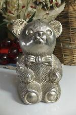 Vintage Metal Teddy Bear Bank, Made in Hong Kong