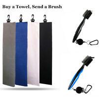 Golf Towels New Tri-fold Microfiber Waffle 16X24 Hook Bag Clip Send Free Brush