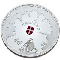 2017 ESTONIA SILVER PROOF COIN ESTLAND SILBERMÜNZE 8 EURO HANSESTADT TALLINN