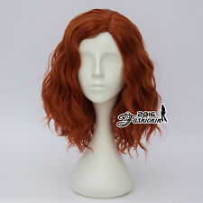 35CM Medium Dark Orange Curly Fashion Women Lolita Synthetic Hair Cosplay Wig