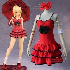 Anime Fate Extra Saber Nero Sleeveless Cosplay Costume Red Dress Lolita Dresses