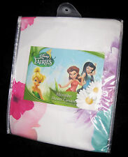 FABRIC - Disney Fairies - Tinkerbell & Friends & Flowers on White SHOWER CURTAIN
