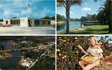 New Port Richey Florida FL Post Office Pithlachasotee River woman Postcard