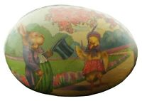 """Antique German Paper Mache Easter Egg Candy Container Mrs Duck & Mr Rabbit 3.5"""""""
